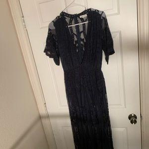 Honey Punch Dresses - Blue Lace Romper Dress